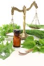 Homeopathy with herbs Stock Images