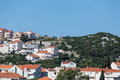 Homes on croatian hillside and buildings the hilly coastline of croatia near dubrovnik Stock Photo
