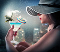 Homesickness summer woman looks at glass with landscape Stock Photography