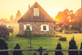 Homestead old at countryside in lithuania kernave sunrise time Royalty Free Stock Photos