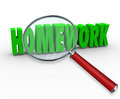 Homework word magnifying glass project lesson assignment under a to illustrate school projects lessons or for teaching important Royalty Free Stock Photography