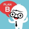 Homme d affaires avec le plan b dans la bulle de la parole Photo stock