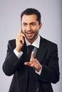 Homme d affaires having une conversation au téléphone Image libre de droits