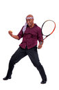 Homme d affaires jouant le tennis Photo stock