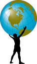 Homme supportant le globe Images libres de droits