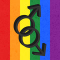Homosexual love icon male on rainbow background Royalty Free Stock Photos