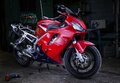 Honda cbr 600 red bikes garage tuning motorcycle 2015 Royalty Free Stock Photo