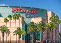 Honda center exterior view anaheim ca usa october the is an indoor arena and home of the anaheim mighty ducks Stock Image