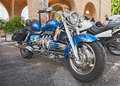 Honda f c six cylinder engine custom motorbike valkyrie gl parked during the motorcycle rally mototagliatella on may in Royalty Free Stock Photo