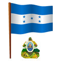 Honduras wavy flag and coat of arms against white background vector art illustration image contains transparency Royalty Free Stock Photography