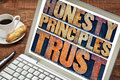 Honesty principles and trust concept words in vintage letterpress wood type printing blocks stained by color inks on a laptop Stock Photography