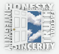 Honesty truth integrity reputation d word door believable trustworthy and sincerity words around a to illustrate respectable Stock Photos