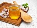 Honey with acacia blossoms Royalty Free Stock Photo