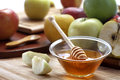 Honey and apples domestic fresh Royalty Free Stock Photo