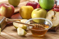 Honey and apples domestic fresh organic on the table Stock Photography