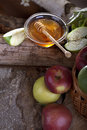 Honey and apples natural organic Royalty Free Stock Images