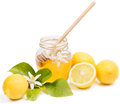 Honey of a azahar lemon and blossom on white Royalty Free Stock Photo
