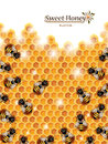 Honey Background with Bees Working on a Honeycomb Royalty Free Stock Photo