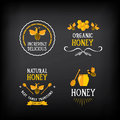 Honey badge and label. Abstract bee design. Vector with graphic.