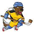 Honey badger mascot intimidating colorful hockey for you professional or school hockey team Royalty Free Stock Photo