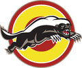 Honey badger mascot leaping circle illustration of a mellivora capensis also known as ratel viewed from side set inside on Stock Photography