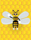 Honey bee cartoon with background Royalty Free Stock Photo