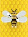 Honey bee cartoon with background Royalty Free Stock Photo