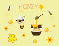 Honey bee cartoon jar vector happy yellow flower icon design Royalty Free Stock Photo
