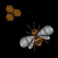 Honey bee embroidery stitches imitation