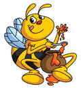 Honey and bee funny cartoon ilustrator design eps Stock Images