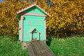 Honey bee hives in autumnal apple garden Stock Image