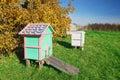 Honey bee hives in autumnal apple garden Stock Images