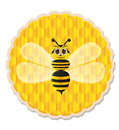 Honey bee with honey comb background cute big eye as Royalty Free Stock Photos