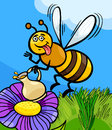 Honey bee insect cartoon illustration of funny on the meadow with pot of or nectar Stock Photography