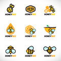Honey bee logo vector set art design Royalty Free Stock Photo