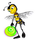 Honey bee press the botton Stock Photos
