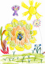 Honey bee on sunflower and butterfly. child drawing Stock Image