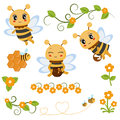 Honey bee theme characters and icons