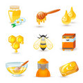Honey and beekeeping icons Stock Photography