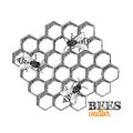 Honey bees and honeycomb isolated vector illustration Stock Photos