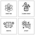 Honey, bees honeycomb vector logos template set