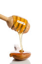 Honey dripping from a wooden honey dipper into wooden spoon Royalty Free Stock Photo