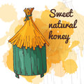 Honey element in hand drawn style natural product apiary symbol vector illustration Stock Images