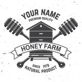 Honey farm badge. Vector. Concept for shirt, print, stamp or tee. Vintage typography design with hive and honey dipper