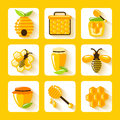 Honey flat icons set Photo libre de droits