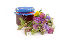 Honey and flowers a jar of wildflowers Stock Photo
