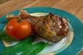 Honey garlic glazed turkey leg baked country cuisine Stock Photo