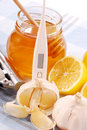 Honey,garlic and lemon Stock Images