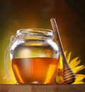 Honey in a glass jar and flower sunflower Royalty Free Stock Photo