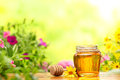 Honey in glass jars with flowers background Stock Photos